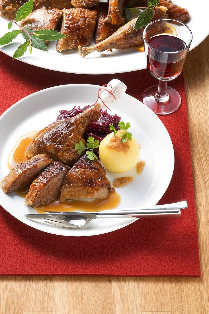 Christmas goose with red cabbage and dumplings