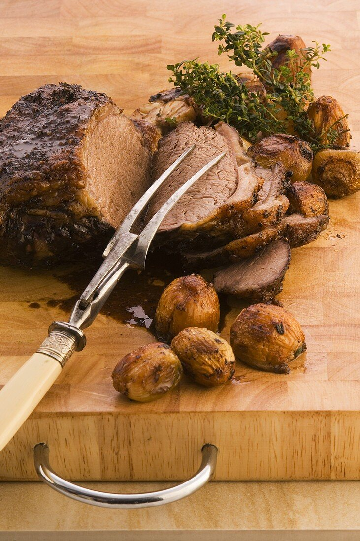 Roast beef with chestnuts