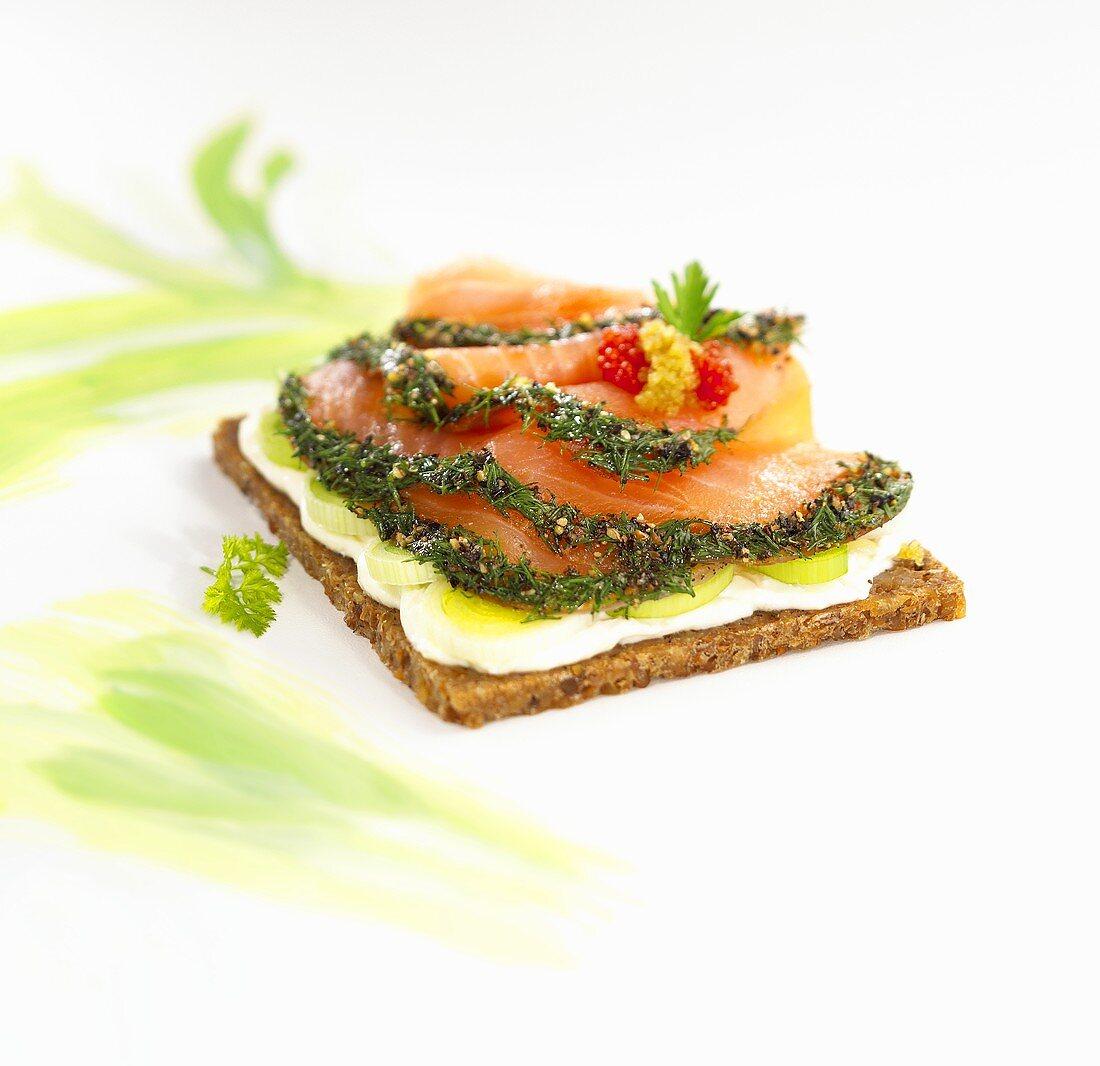 Gravlax on wholegrain bread