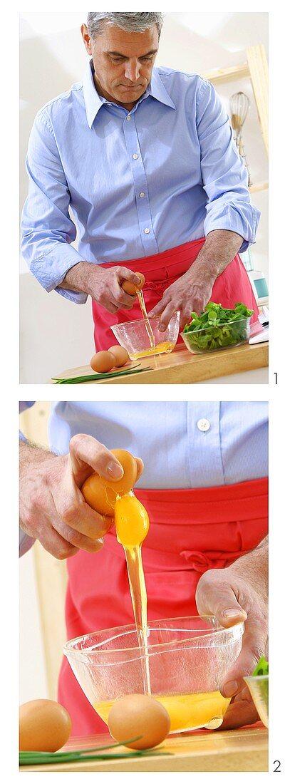 Man making an omelette