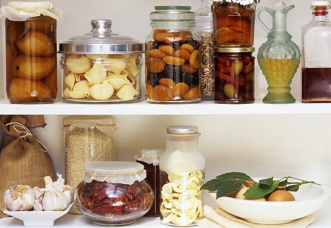 Various foodstuffs in store cupboard