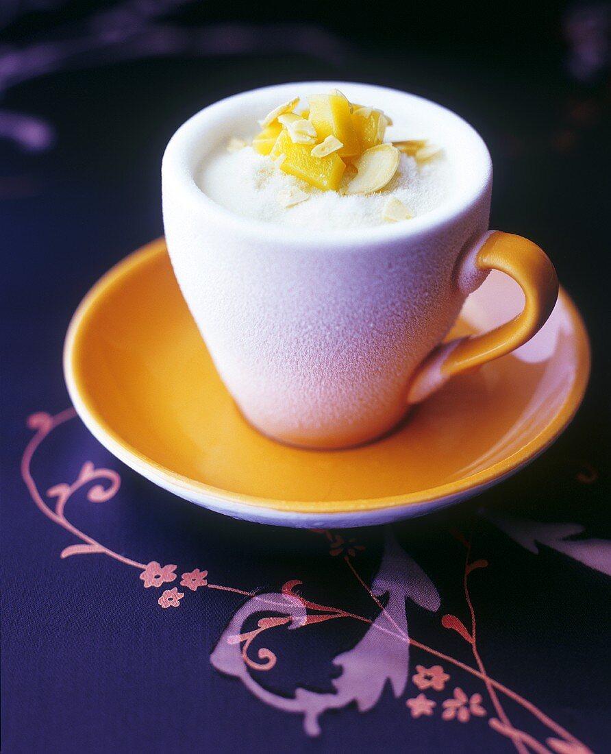 Mango sorbet in frozen cup