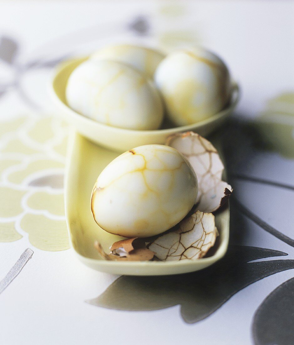 Chinese marbled quails' eggs (Marbled tea eggs)