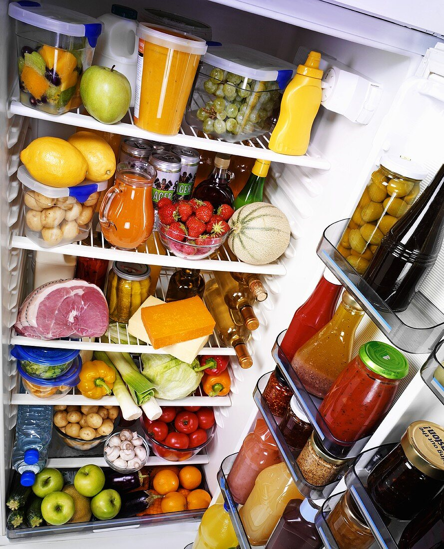 View into a fridge full of food