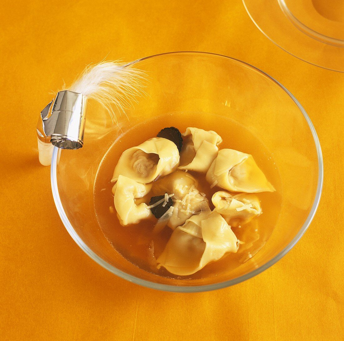 Clear broth with tortellini