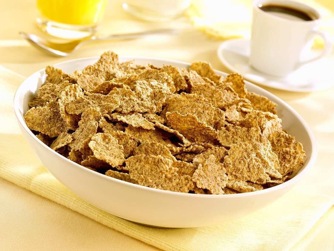 A bowl of wheat flakes