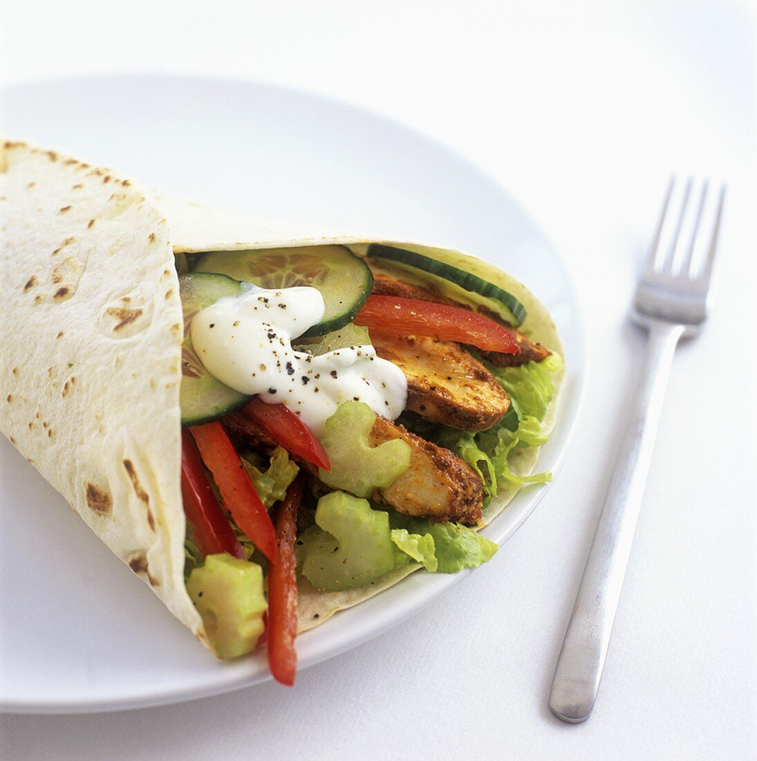 Chicken tikka wrap (made with store-bought products)