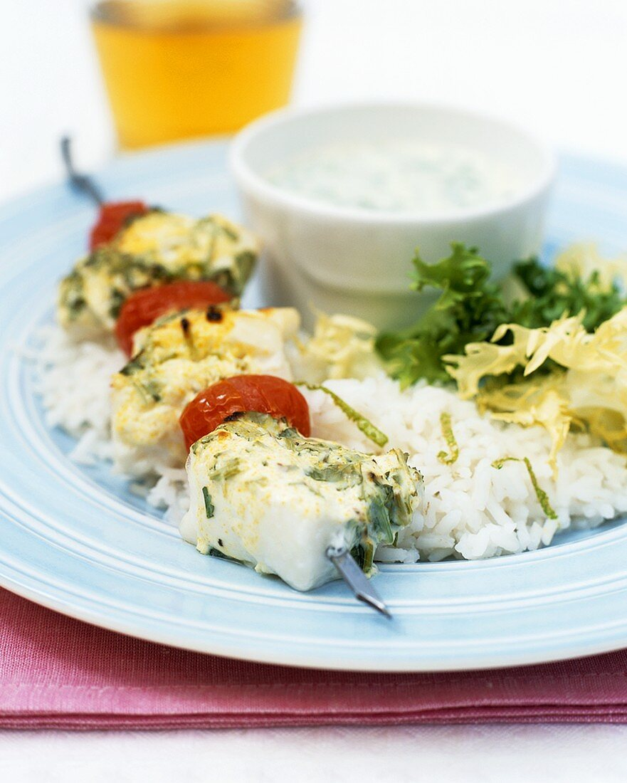 Fish kebabs with coriander and lime marinade