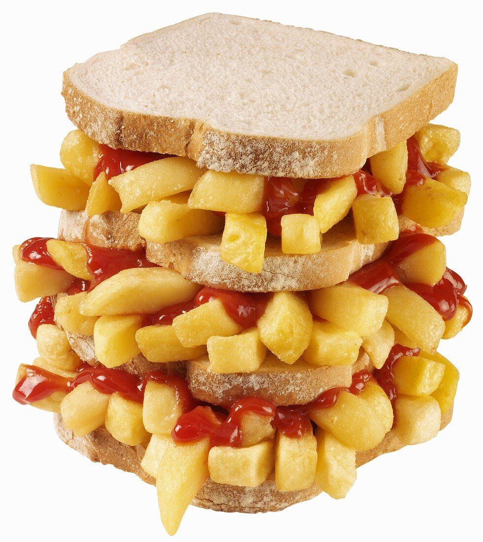 Triple-decker chip butty with ketchup