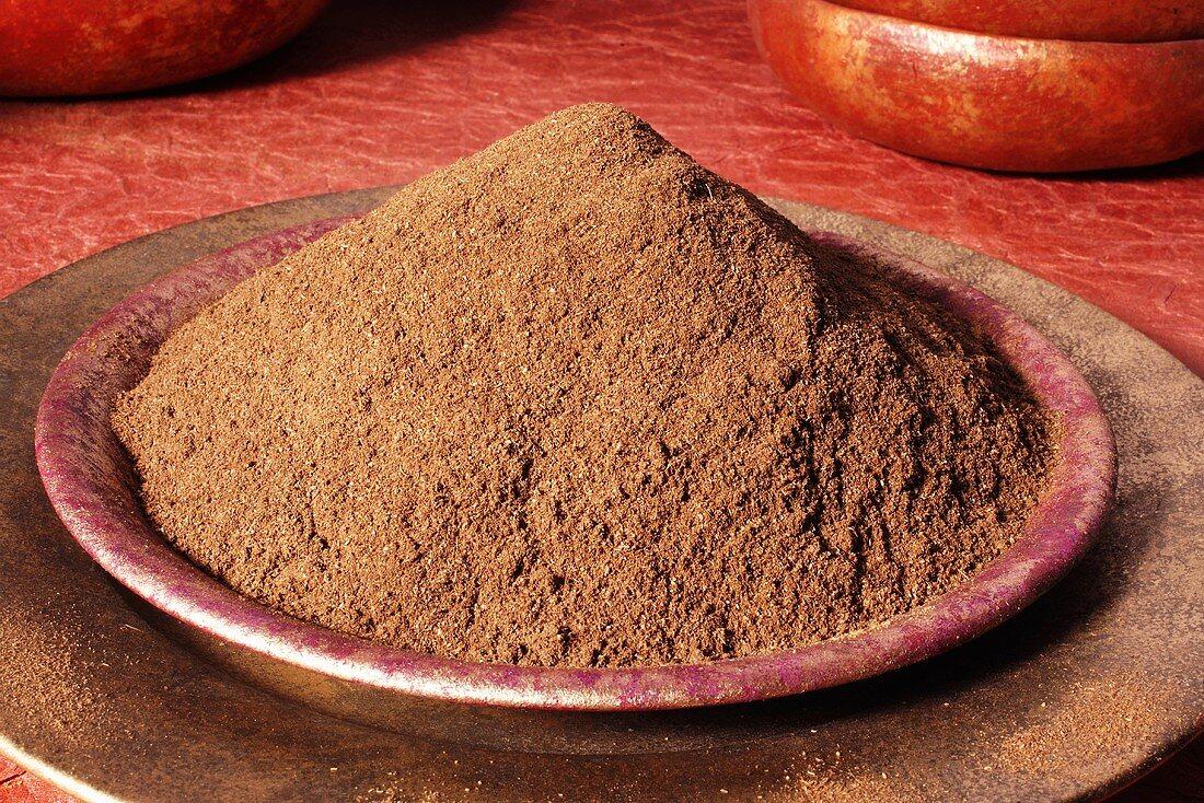 Garam masala (Indian spice mixture) in a dish