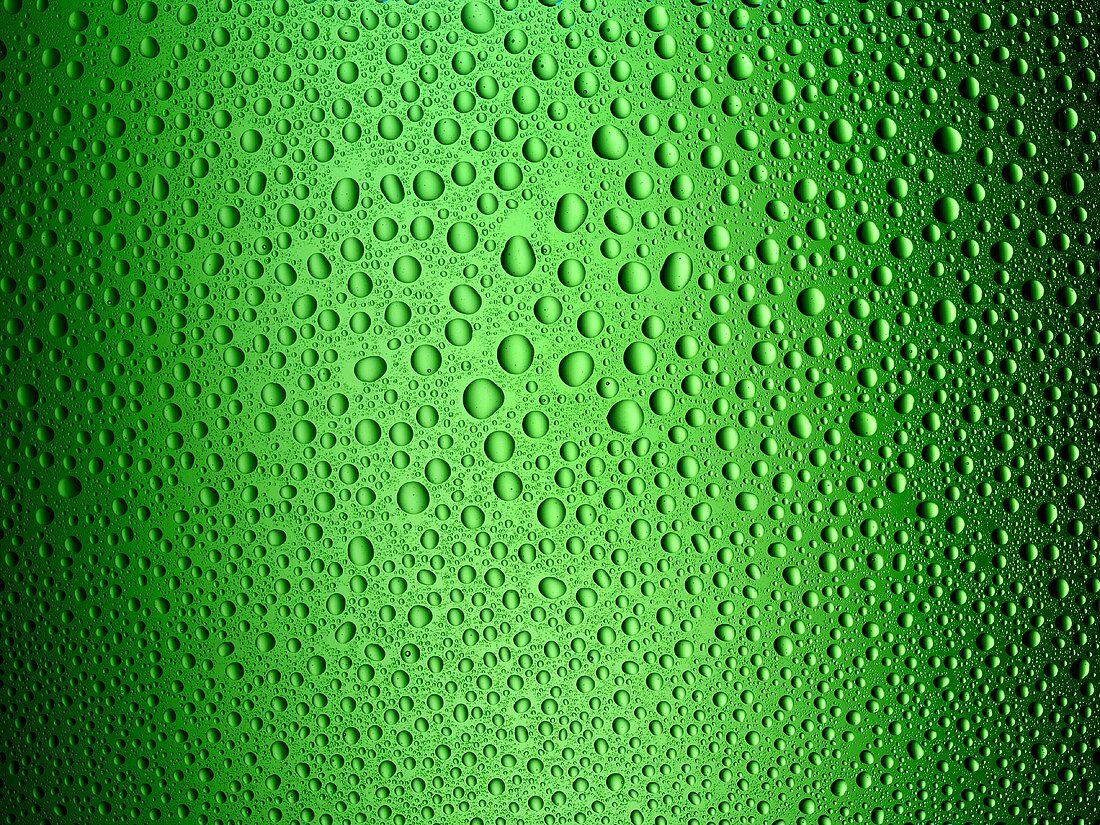 Condensation on green glass
