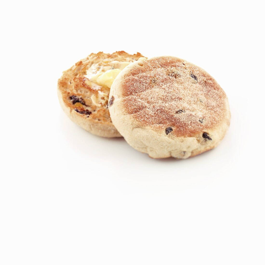 Buttered, toasted English fruit muffin