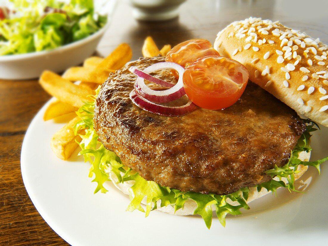 Hamburger in sesame roll