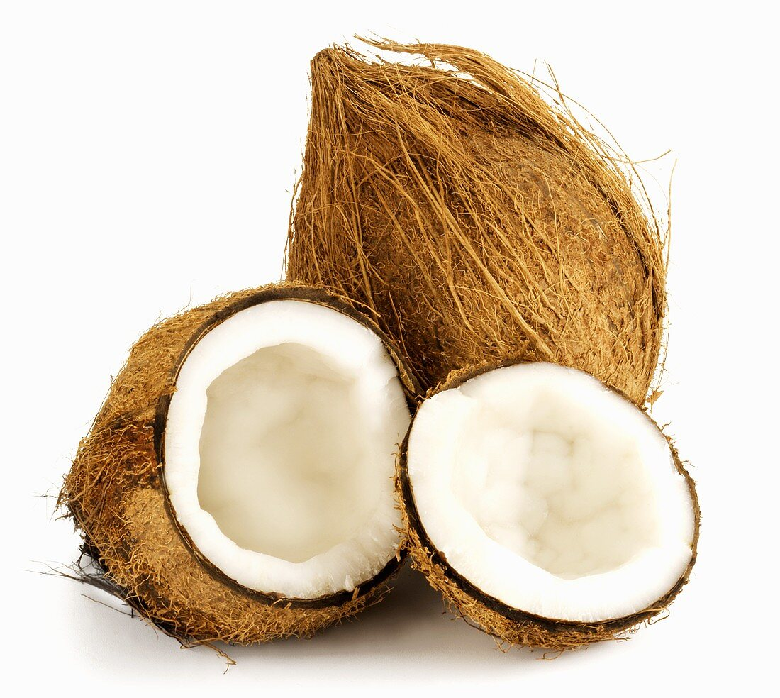 Whole and opened coconut