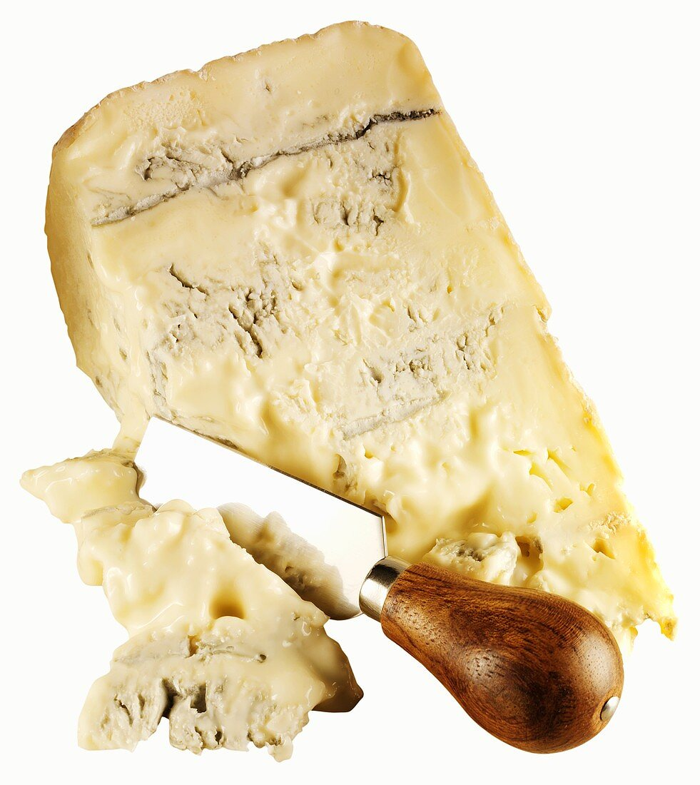 A piece of Gorgonzola with cheese spade