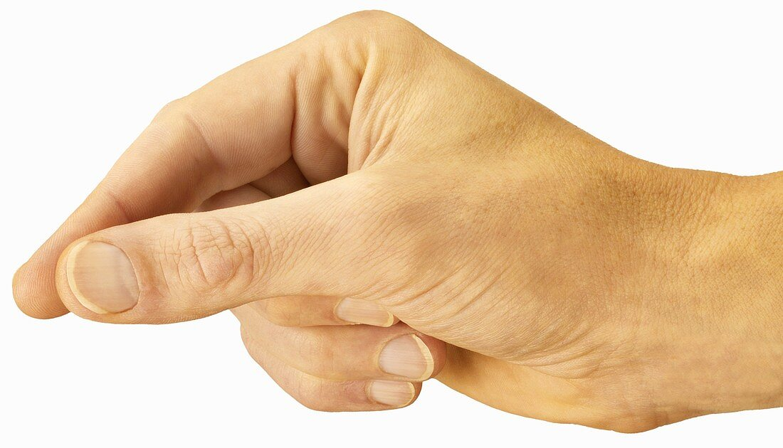 Hand in position to hold something between thumb & index finger