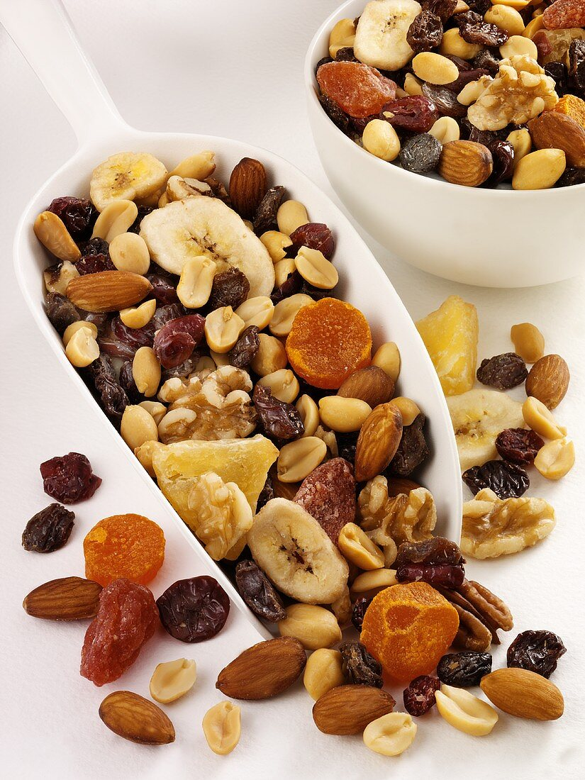 Trail mix in scoop and small bowl