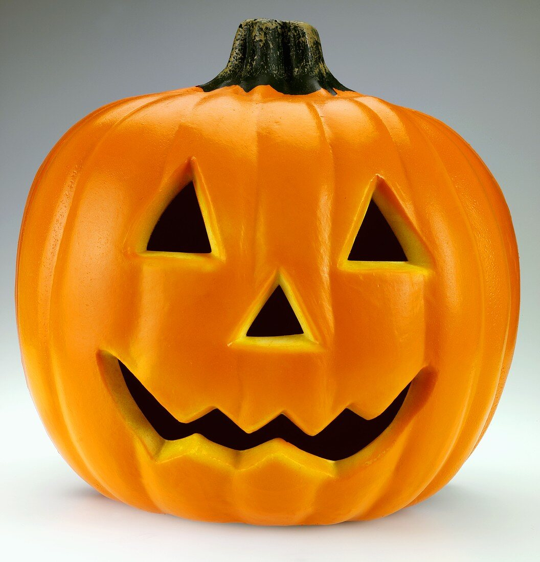 A pumpkin with a scary face