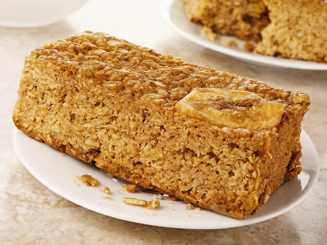 Honey and banana flapjack (Rolled oat tray bake, UK)