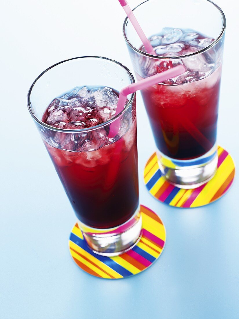 Two glasses of blackcurrant drink (UK)