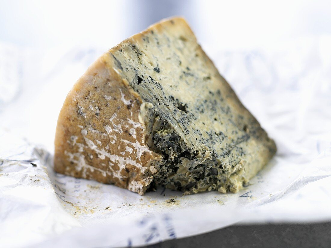 A piece of Cabrales on paper (Blue cheese, Spain)