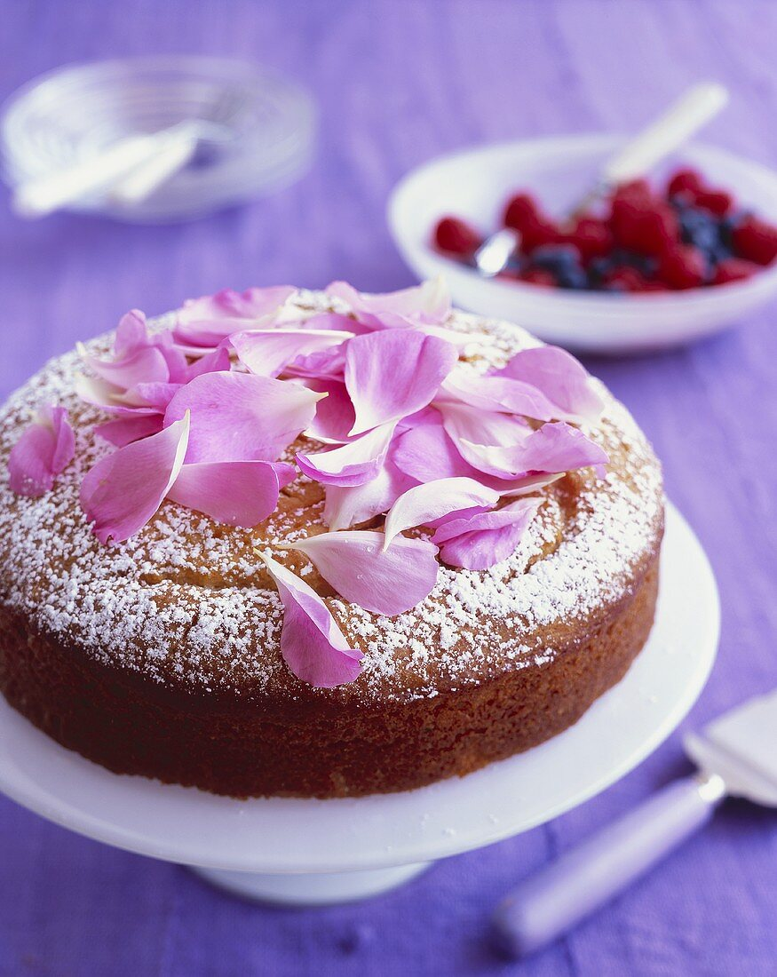 Yoghurt almond cake with rose syrup and rose petals