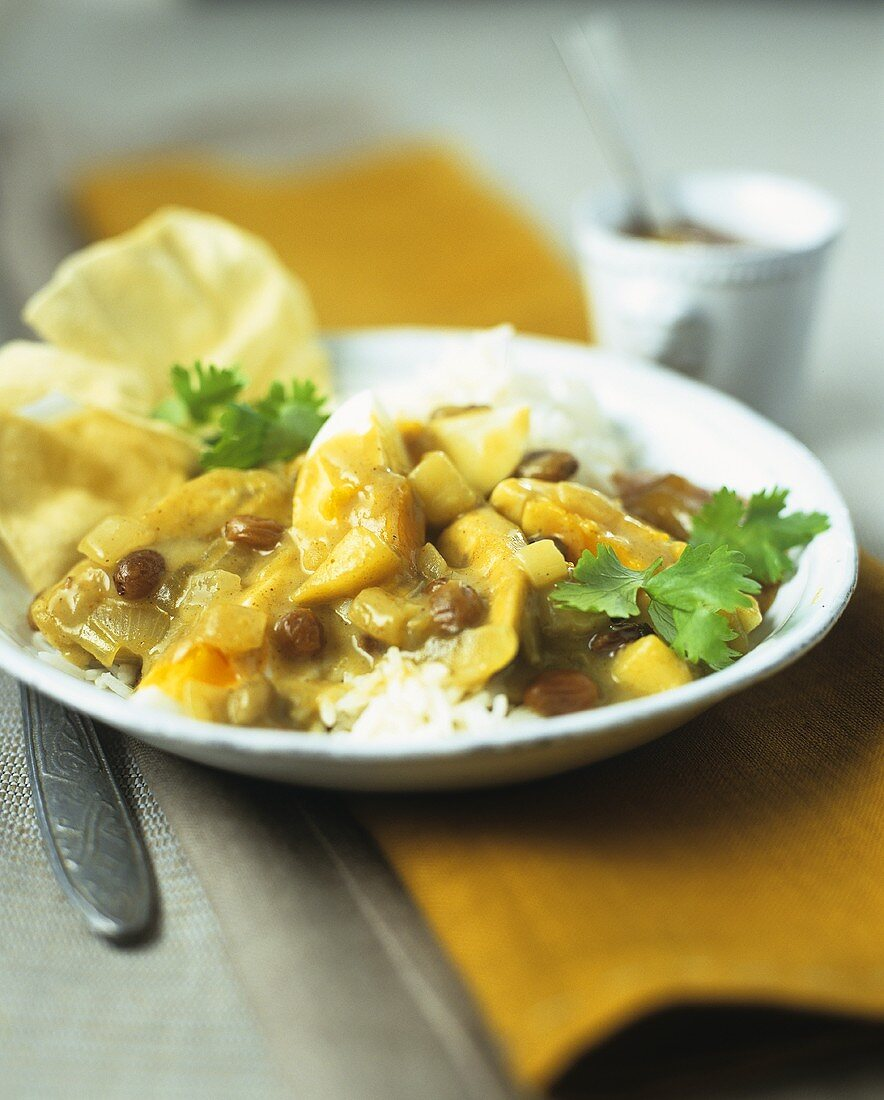 Vegetable curry on rice