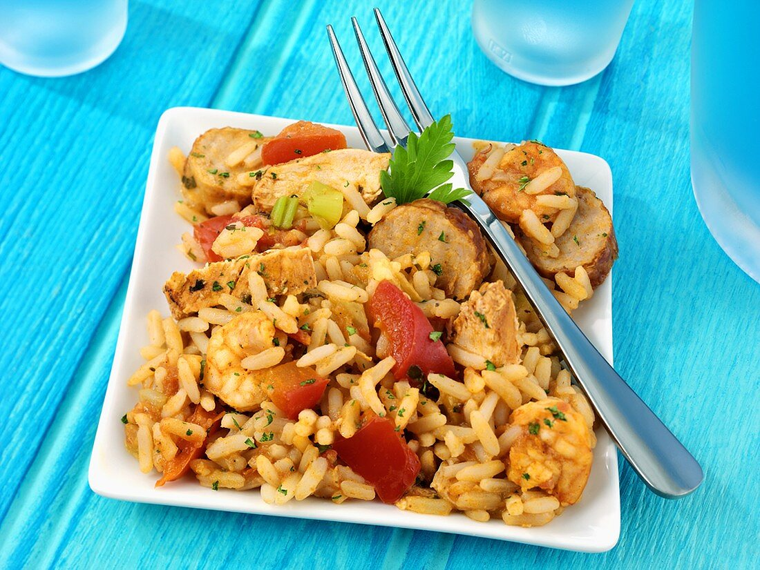 Jambalaya (Rice with chicken, sausage and tomatoes, USA)