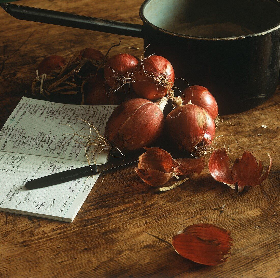 Red onions, a note book, a knife and a saucepan