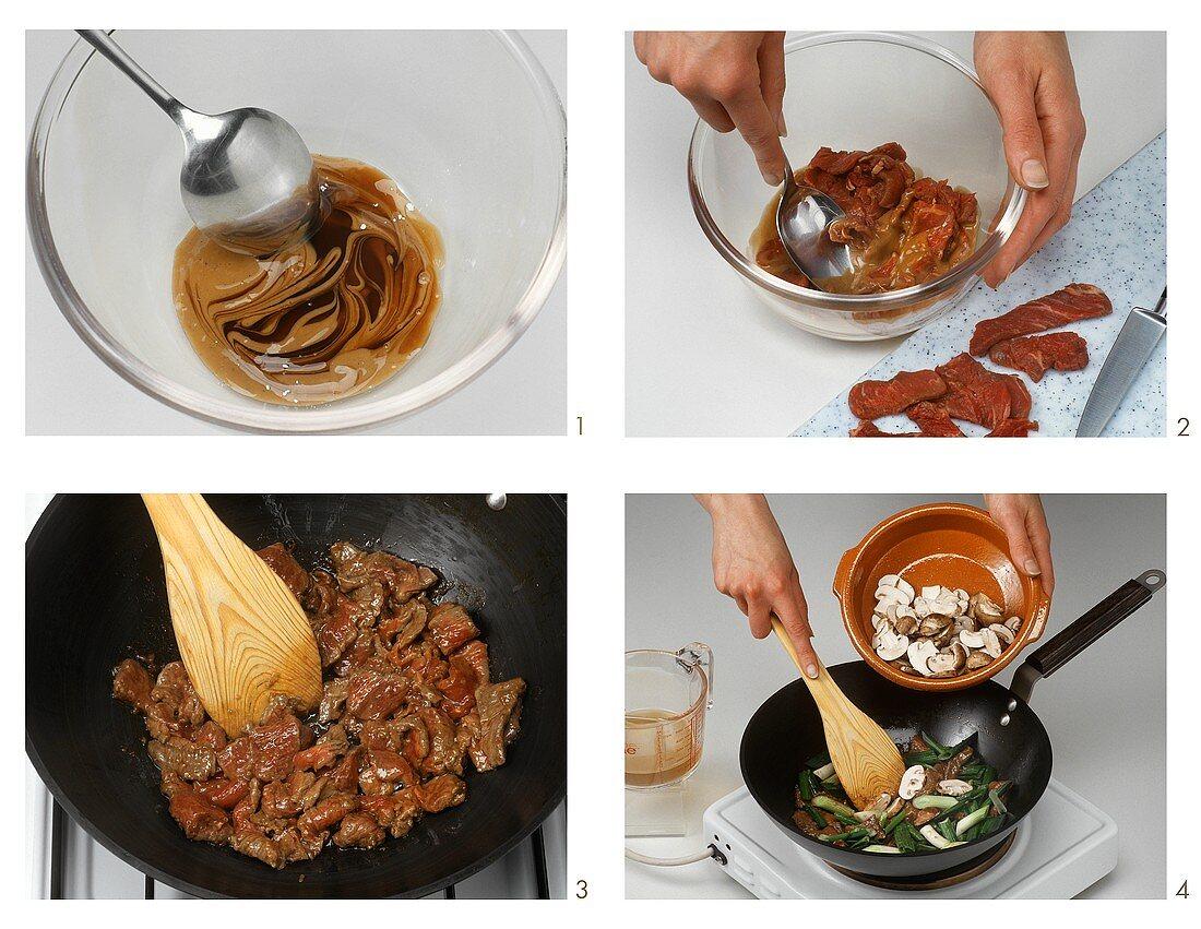 Preparing beef in oyster sauce (Thailand)