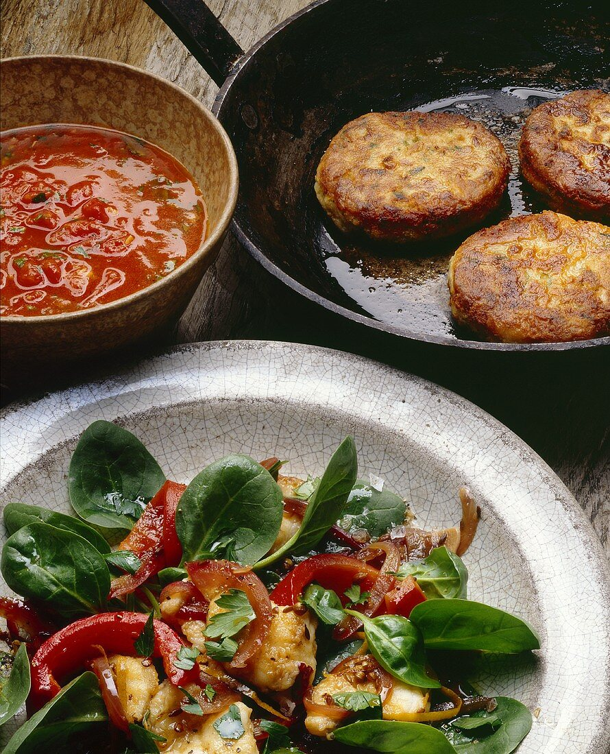 Tuna burgers and monk fish with cos lettuce and pepper