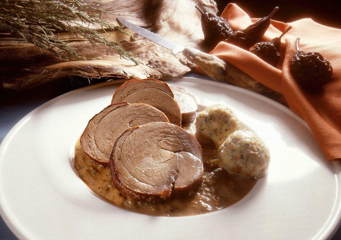 Wild Boar Roast with Pretzel Dumplings