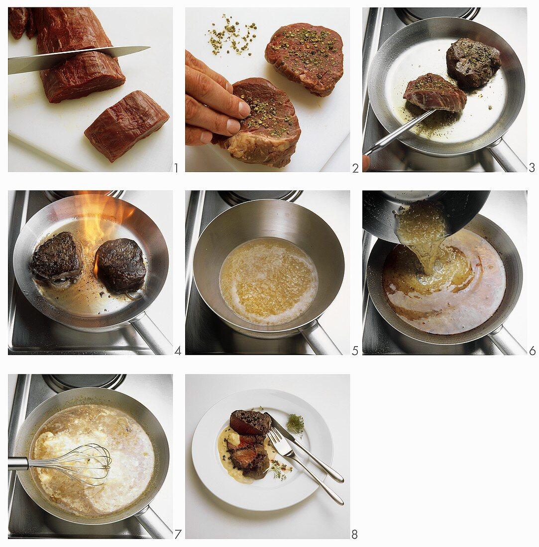 Preparing peppered steaks with sauce