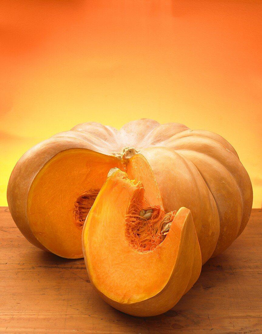 Muscat pumpkin, a slice cut