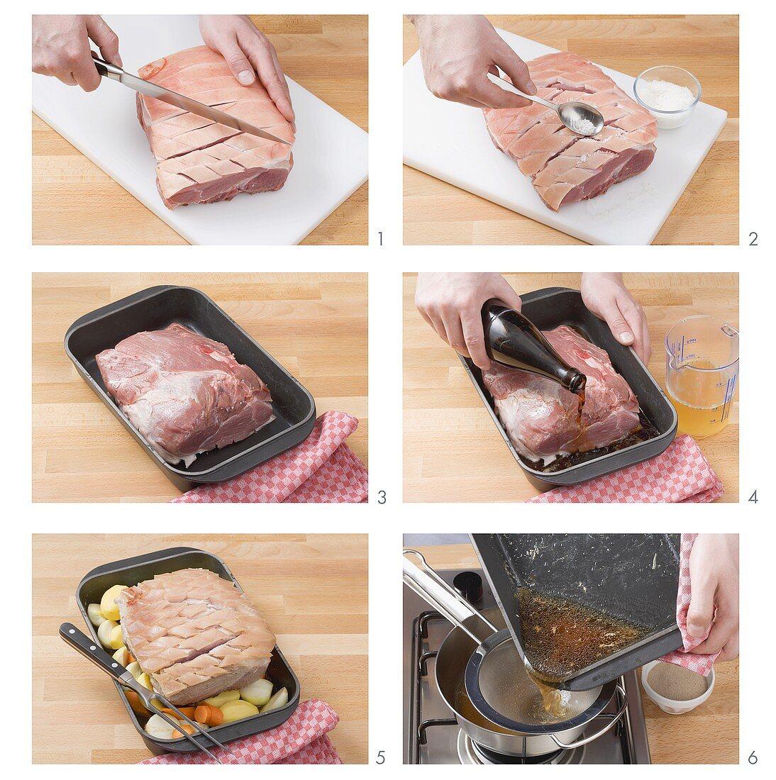 Preparing roast pork with crackling