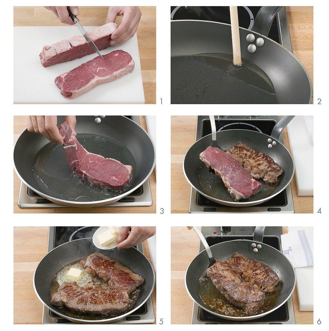Frying beef steaks