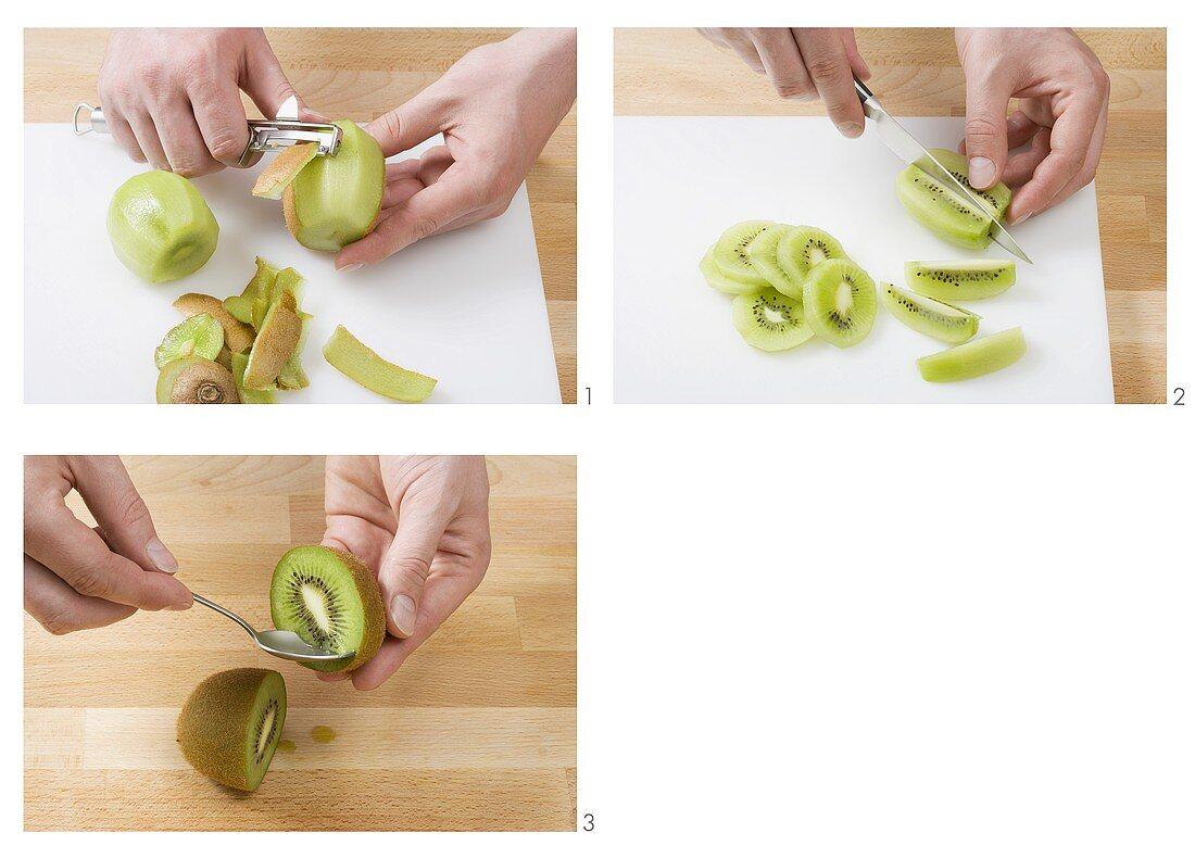 Peeling and slicing a kiwi fruit