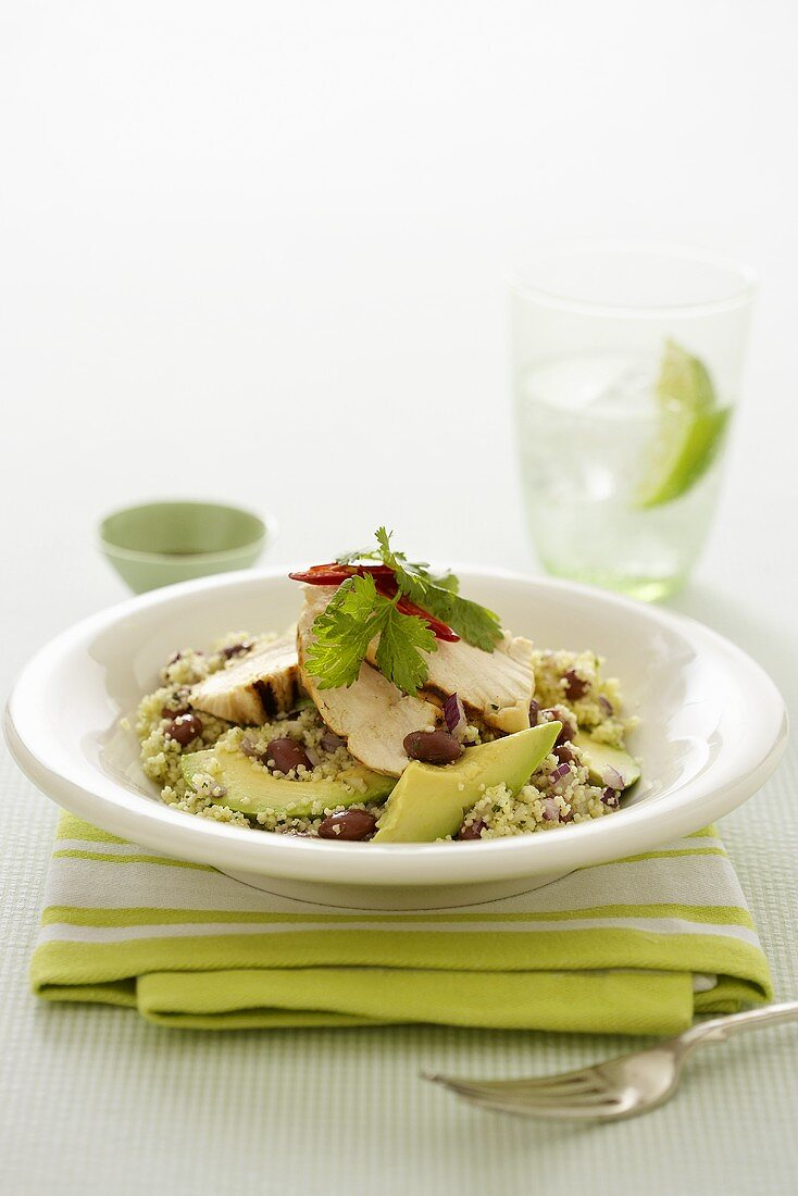 Couscous with avocado and chicken