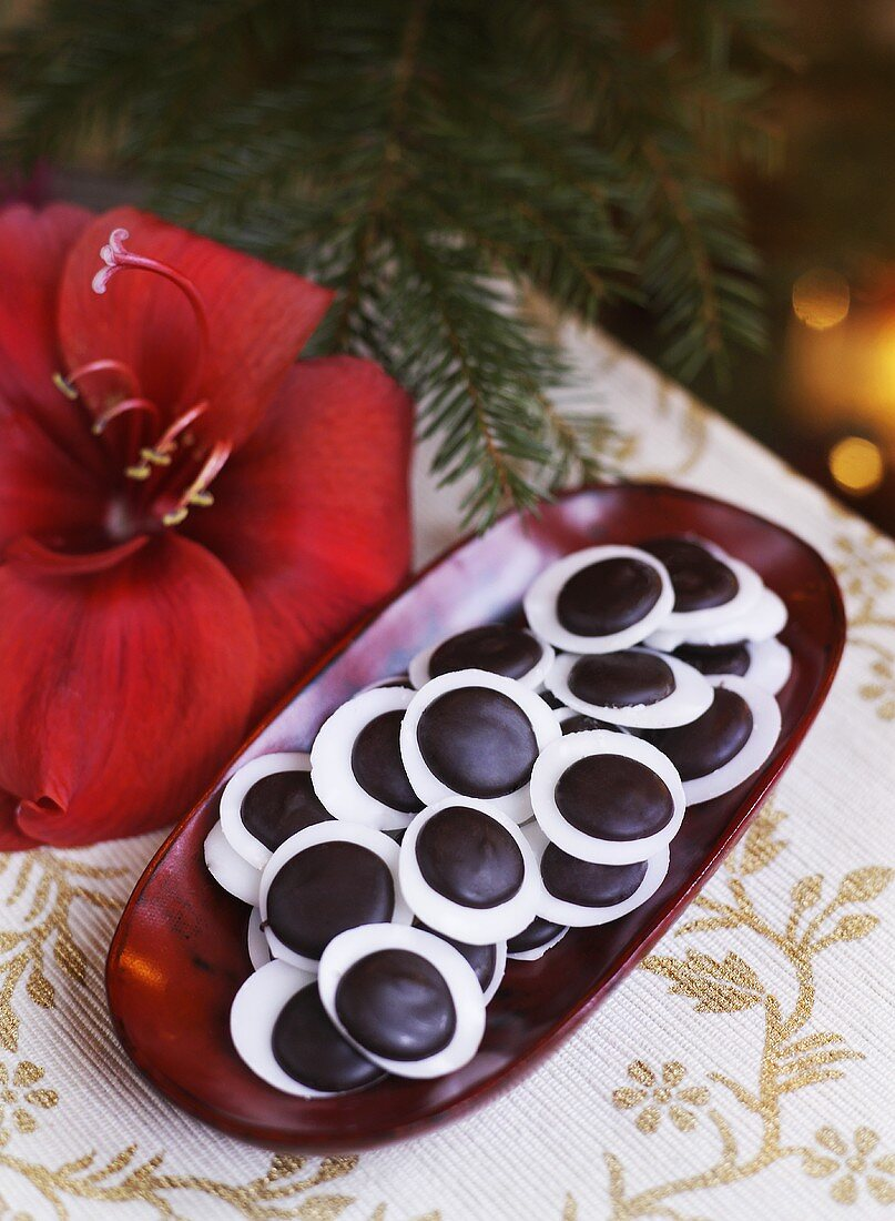 Chocolate mint sweets for Christmas