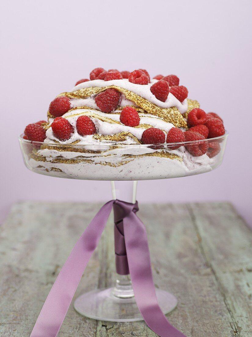 Pancake cake with fresh raspberries