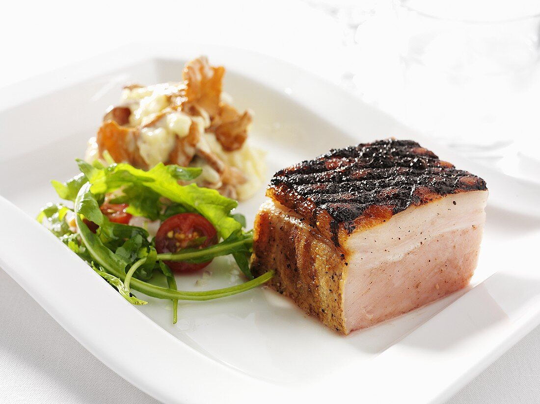 Grilled pork with layer of fat