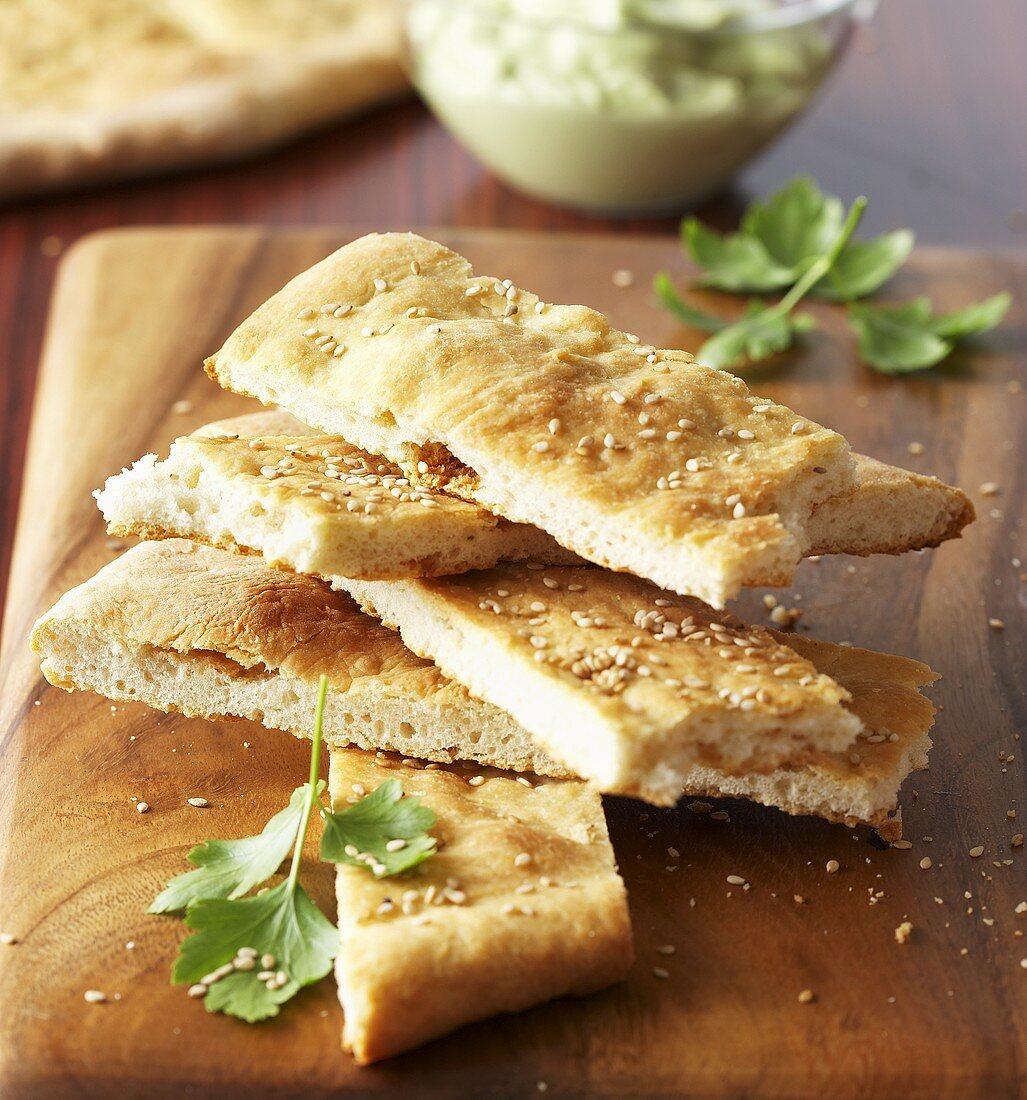 Bannock bread with sesame seeds, USA