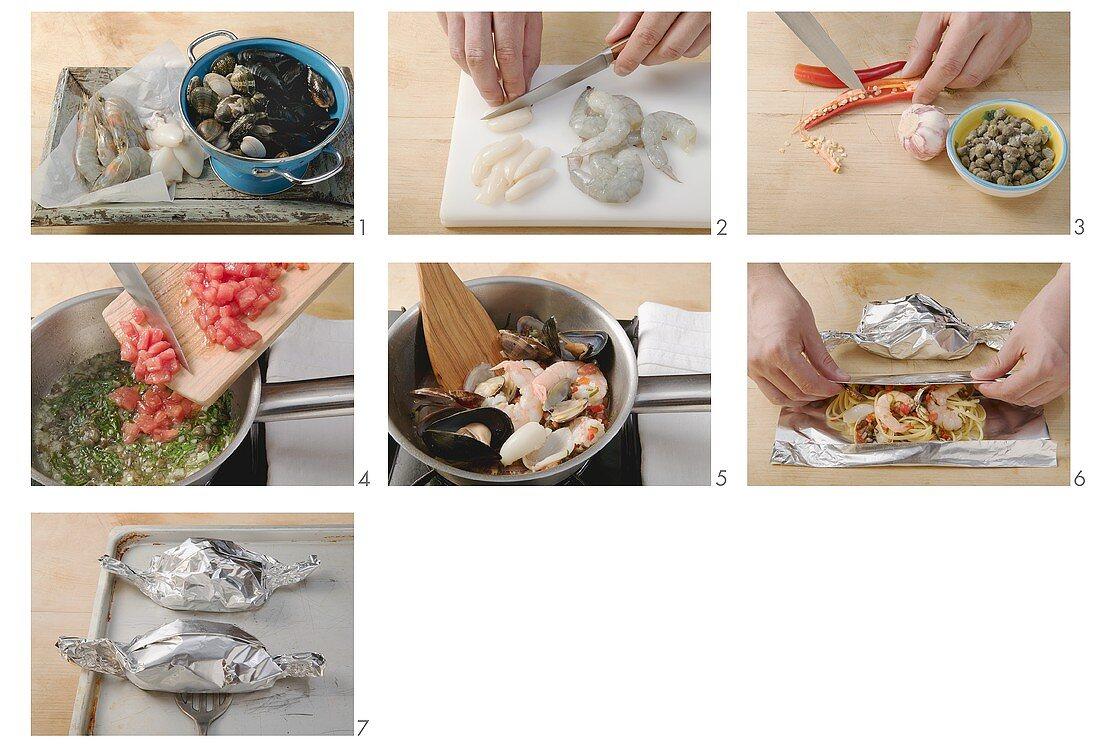 Linguine al cartoccio zubereiten(Linguine mit Meeresfrüchten)