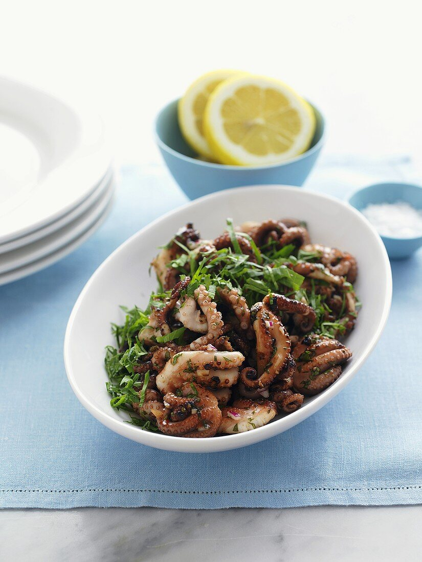 Marinated, grilled octopus