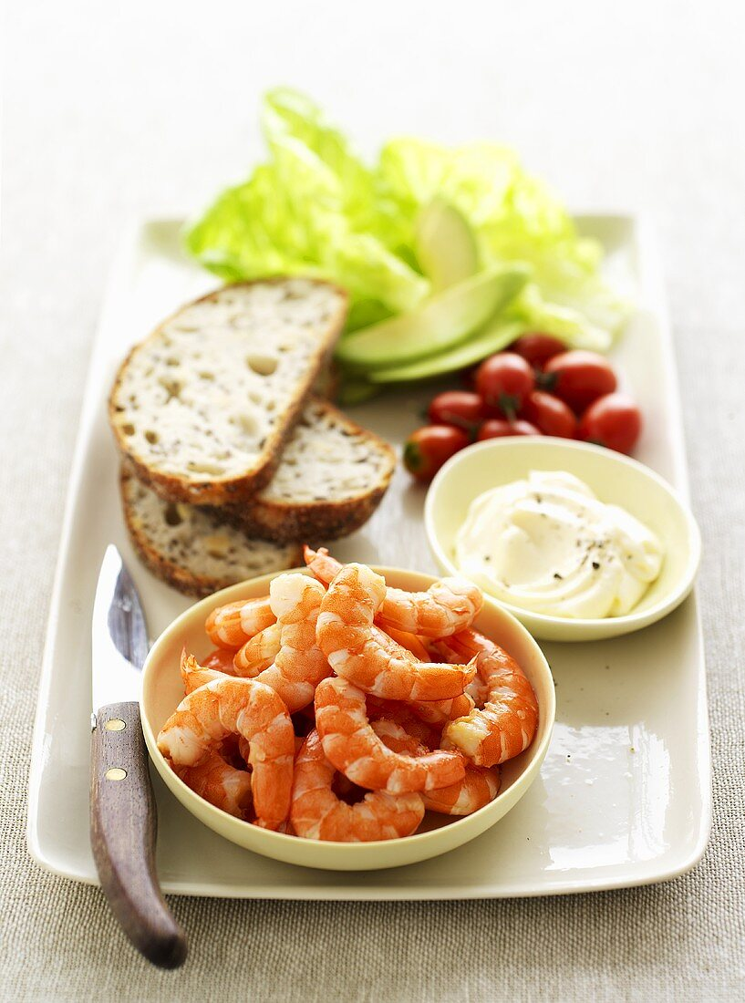 Ingredients for prawn sandwiches with mayonnaise