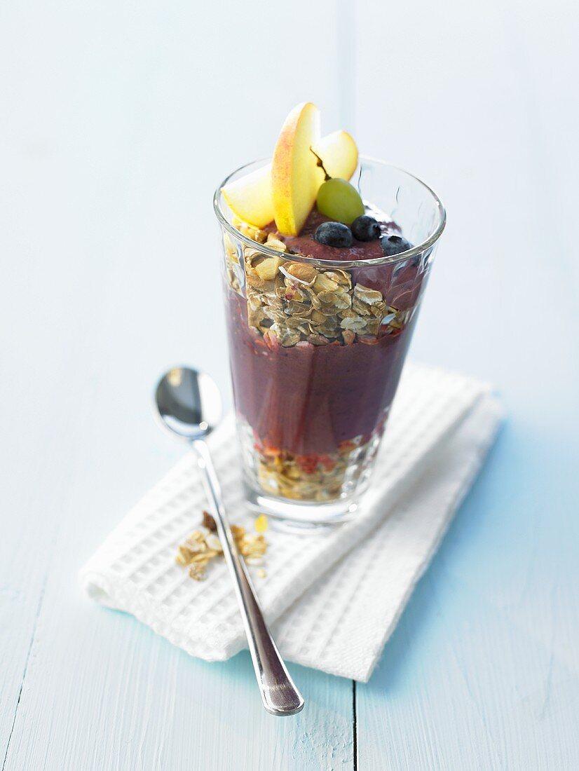 Muesli with acai berry yoghurt