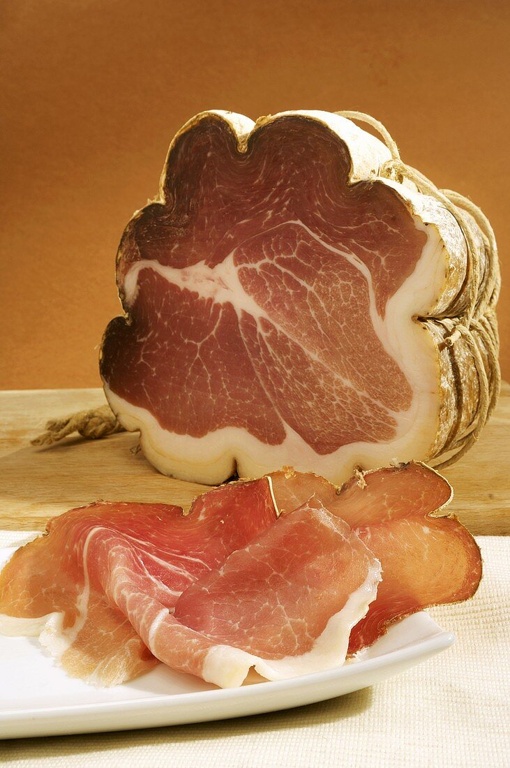 Coppa, a piece and slices