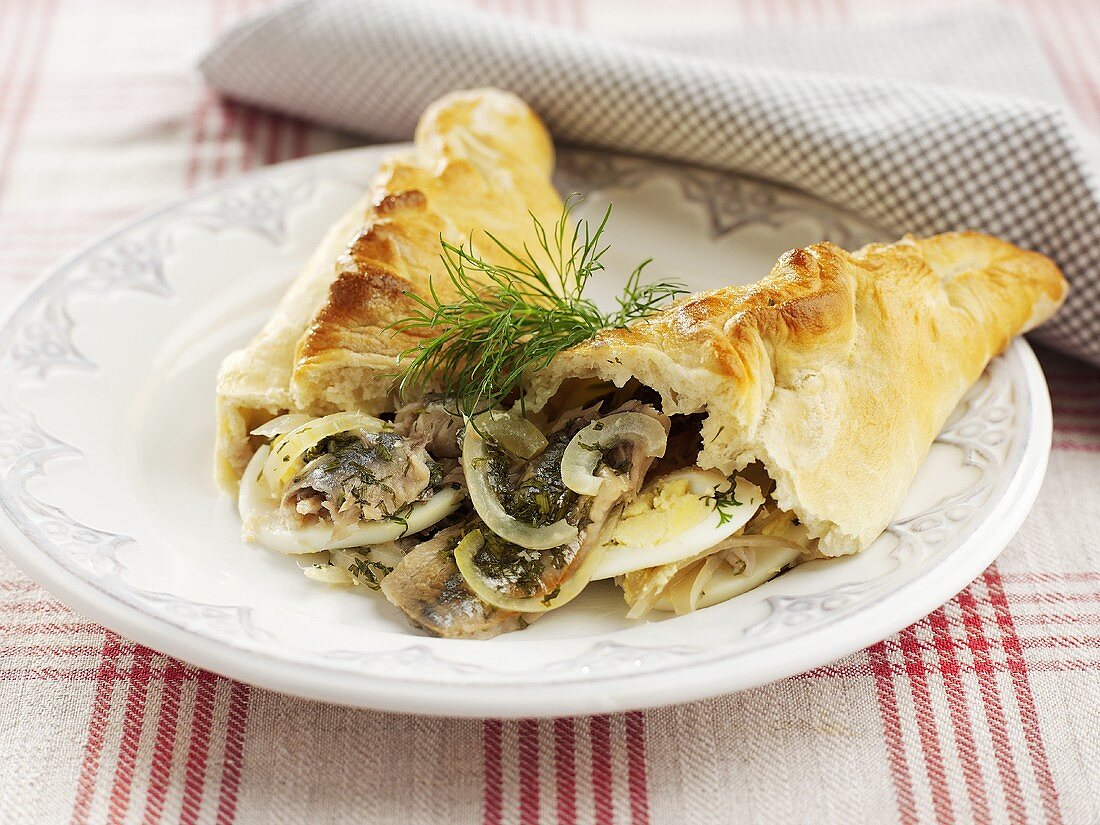 Fish pasty made with yeast dough