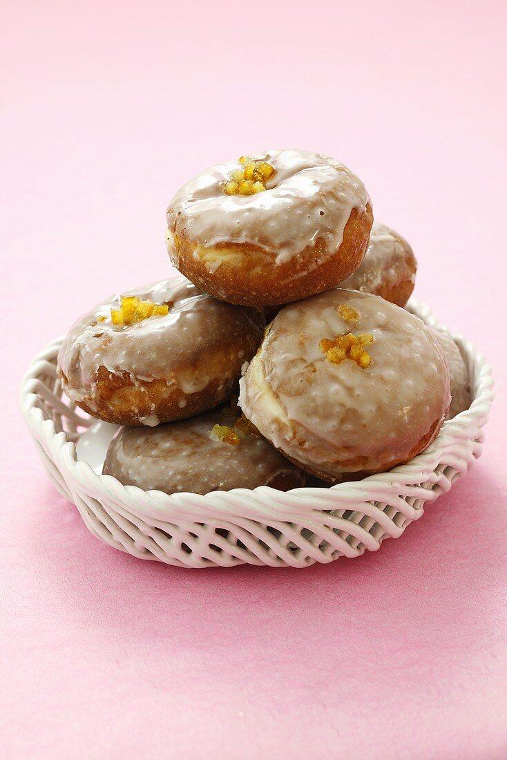 Iced jam doughnuts