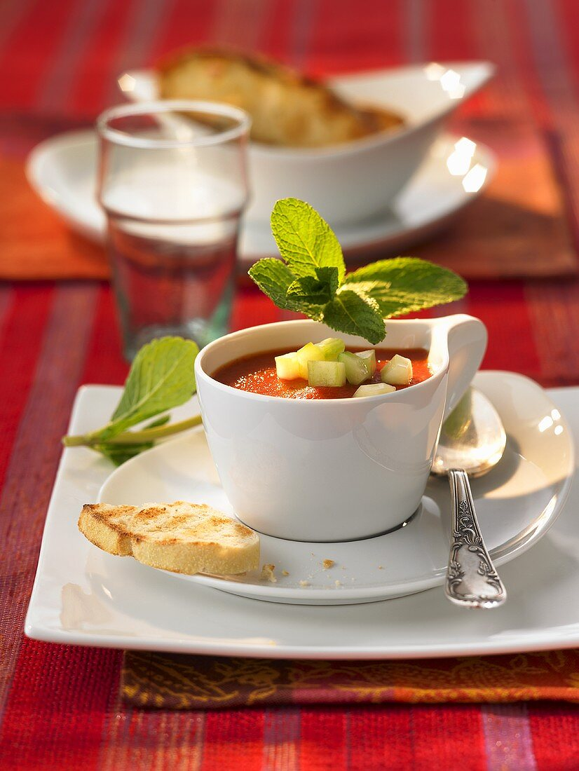 Jellied gazpacho with mint and toast